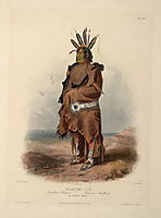 Pachtuwa-Chta, an Arrikkara Warrior, plate 27 from Volume 1 of -Travels in the Interior of North America-, 1843, bodmer