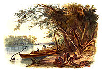 The party in which Karl Bodmer was traveling stopped to camp along the Missouri River in North Dakoon, 1833, bodmer