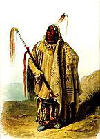 Pehriska Ruhpa Minatarre or Big Bellied Indian, 1834, bodmer