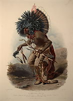 Pehriska-Ruhpa, Minatarre Warrior in the Costume of the Dog Dance, plate 23 from Volume 2 of -Travels in the Interior of North America-, 1844, bodmer