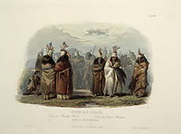 Ptihn-Tak-Ochata, Dance of the Mandan Women, plate 28 from Volume 1 of -Travels in the Interior of North America-, 1843, bodmer