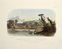 Punka Indians Encamped on the Banks of the Missouri, plate 11 from volume 1 of `Travels in the Interior of North America-, 1843, bodmer