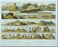 Remarkable Hills on the Upper Missouri, plate 34 from Volume 2 of -Travels in the Interior of North America- , 1843, bodmer