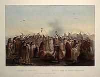 Scalp dance of the Minatarres, 1843, bodmer