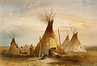 Sioux teepee from Volume 1 of -Travels in the Interior of North America-, 1833, bodmer