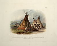 A Skin Lodge of an Assiniboin Chief, plate 16 from Volume 1 of -Travels in the Interior of North America-, 1843, bodmer