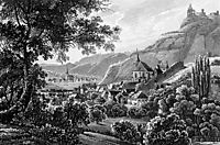 The town Traben Trarbach and the Grevenburg on the Moselle River in Germany, 1841, bodmer
