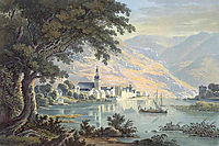 The town Zell on the Moselle River in Germany, 1841, bodmer