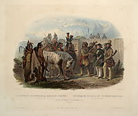 The Travellers Meeting with Minatarre Indians near Fort Clark, plate 26 from Volume 1 of -Travels in the Interior of North America-, 1843, bodmer