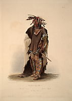 Wahk-Ta-Ge-Li, a Sioux Warrior, plate 8 from Volume 2 of -Travels in the Interior of North America-, 1844, bodmer