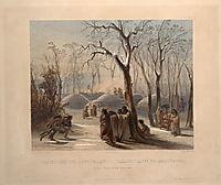 Winter village of the Minatarres, 1843, bodmer