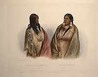 Woman of the Snake tribe and woman of the Cree tribe, plate 33  from Volume 1 of -Travels in the Interior of North America-, 1832, bodmer