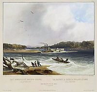 Yellowstone, Missouri River steamboat, depicted as aground on, 1844, bodmer