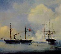 Action between Russian steam firgate Vladimir and Turkish steam frigate Pervaz in Bahri of November5, 1853, bogolyubov