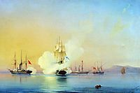 The battle of fregate Flora against Turkish steamships near Pitsunda November, 11 1853, 1854, bogolyubov