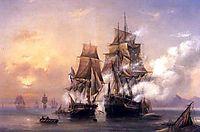 Capturing of Swedish 44 gun frigate Venus by Russian 22 gun cutter Merkuriy of June 1, 1789, 1845, bogolyubov