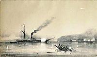 Steamship Kolkhida fighting the Turkish boats at the St. Nicholas Fort near Poti, Georgia during the Crimean War in 1853, 1854, bogolyubov