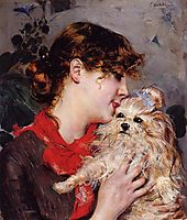 The actress Rejane and her dog , c.1885, boldini