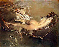 A Reclining Nude on a Day-Bed, c.1900, boldini