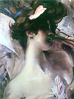 Young woman-s head on a pink background, 1912, boldini