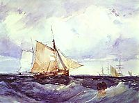 A Cutter and other Ships in a Strong Breeze, 1827, bonington