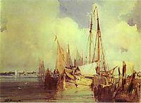 French River Scene with Fishing Boats, 1824, bonington