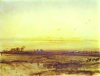 Landscape with Harvesters at Sunset, 1826, bonington