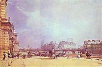 Paris. Quai du Louvre., 1828, bonington