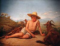 Giotto gardant les chèvres, 1850, bonnat
