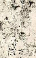 Various sketches and a beggar, 1516, bosch