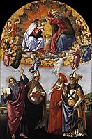 Coronation of the Virgin Altarpiece from San Marco, 1490-92, botticelli