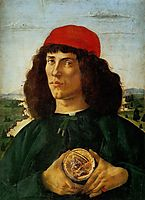 Portrait of a Man with the Medal of Cosimo, 1474, botticelli