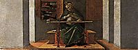 St Augustine in his Study, predella panel from the Altarpiece of St Mark, 1490, botticelli