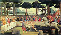The Story of Nastagio Degli Onesti - The Banquet in the Pine Forest, 1483, botticelli