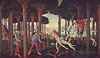 The Story of Nastagio degli Onesti (I), from The Decameron, by Boccaccio, 1483, botticelli