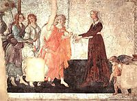 Venus and the Graces offering gifts to a young girl, 1486, botticelli