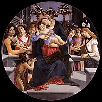 Virgin and Child with Six Angels and Saint Baptist, 1485, botticelli
