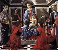 Virgin and Child with Six Saints, 1470, botticelli