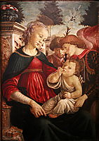 Virgin and child with two angels, 1469, botticelli