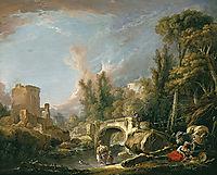 River Landscape with Ruin and Bridge, boucher
