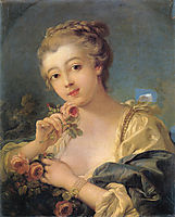 Young Woman with a Bouquet of Roses, 17, boucher