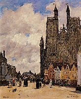 Abbeville, Street and the Church of Saint-Folfran, 1884, boudin