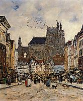 Abbeville, Street and the Church of Saint-Vulfran, 1884, boudin
