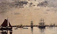 Antwerp, boats on the River Escaut, boudin