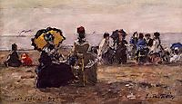 Beach Scene, the Yellow Umbrella, boudin