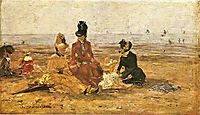 Beach at Trouville, 18, boudin