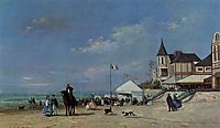 The Beach at Trouville, 1863, boudin
