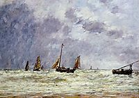 Berck, the Departure of the Boats, boudin
