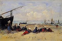 Berck, Fisherwomen on the Beach, Low Tide, 1894, boudin