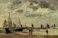 Berck, Jetty and Sailing Boats at Low Tide, boudin